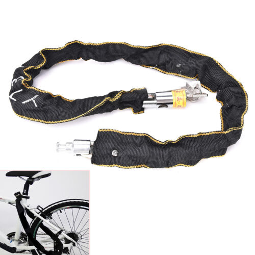 Motorbike Scooter Bike Chain Pad Lock Security Iron Chain Inside 2Keys 100cmZT