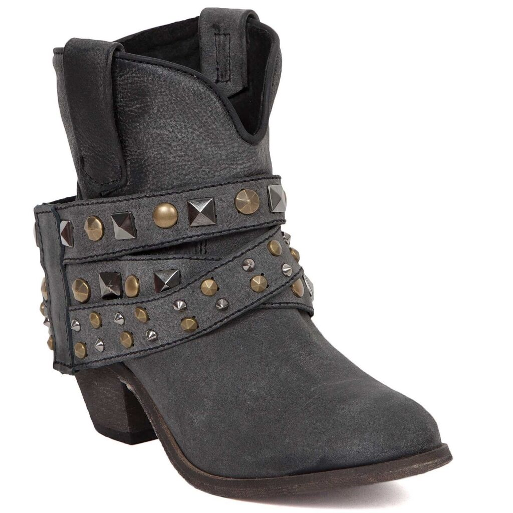 Corral Ladies Black Studded Strap Ankle Boot P5021