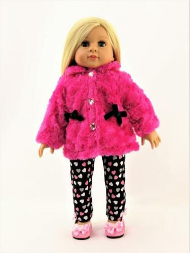 "Hot Pink Furry Jacket Heart Pant Set Fits 18/"" American Girl Doll Clothes"