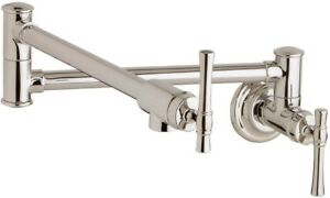 Brushed Nickel Wall Mount Pot Filler Swing Arm Spout Home Kitchen Cooktop Faucet
