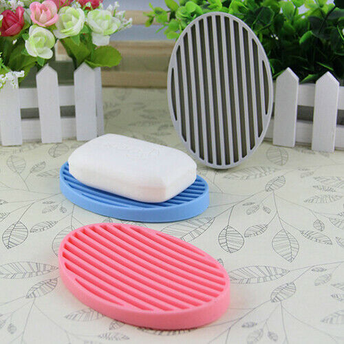 Silicone Flexible Soap Plate Holder Bathroom Toilet Soapbox Soap Dish Striking