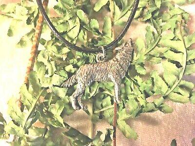 cordon  noir de 45 cm Pendentif loup hurlant  n°1