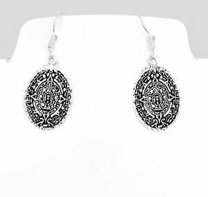Artisan-Sterling-Silver-Aztec-Calendar-Earrings-from-Taxco-Mexico