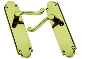 Victorian Scroll Brass Door Handles without Keyhole