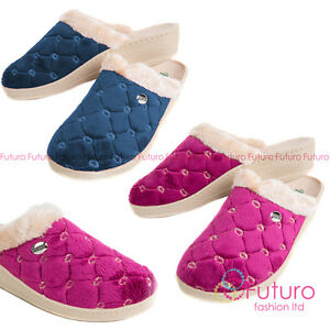 Womens Comfy Warm House Slippers Casual Leather Flip-Flops with Bow FOS68