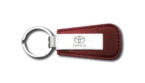 Genuine OEM Toyota Silver /& Red Leather /& Metal Branded Keyring Key Ring