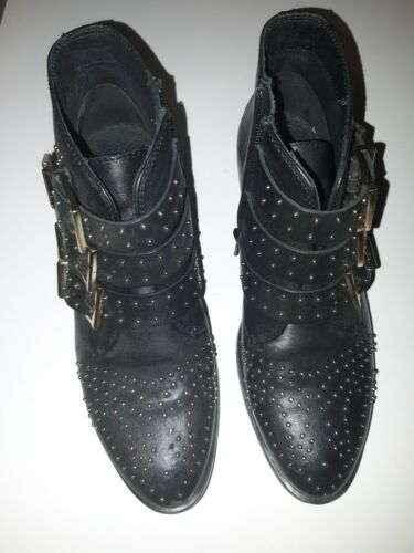Black Western Studded Ankle  Boots
