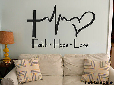 Faith Hope Love Cross Religious Decor Vinyl Decal Wall Sticker Words Lettering
