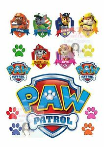Paw Patrol Edible Cake Topper Decoration Set Printed Edible Icing