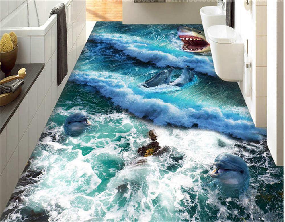 Horrible Big Shark 3D Floor Mural Photo Flooring Wallpaper Home Print Decoration