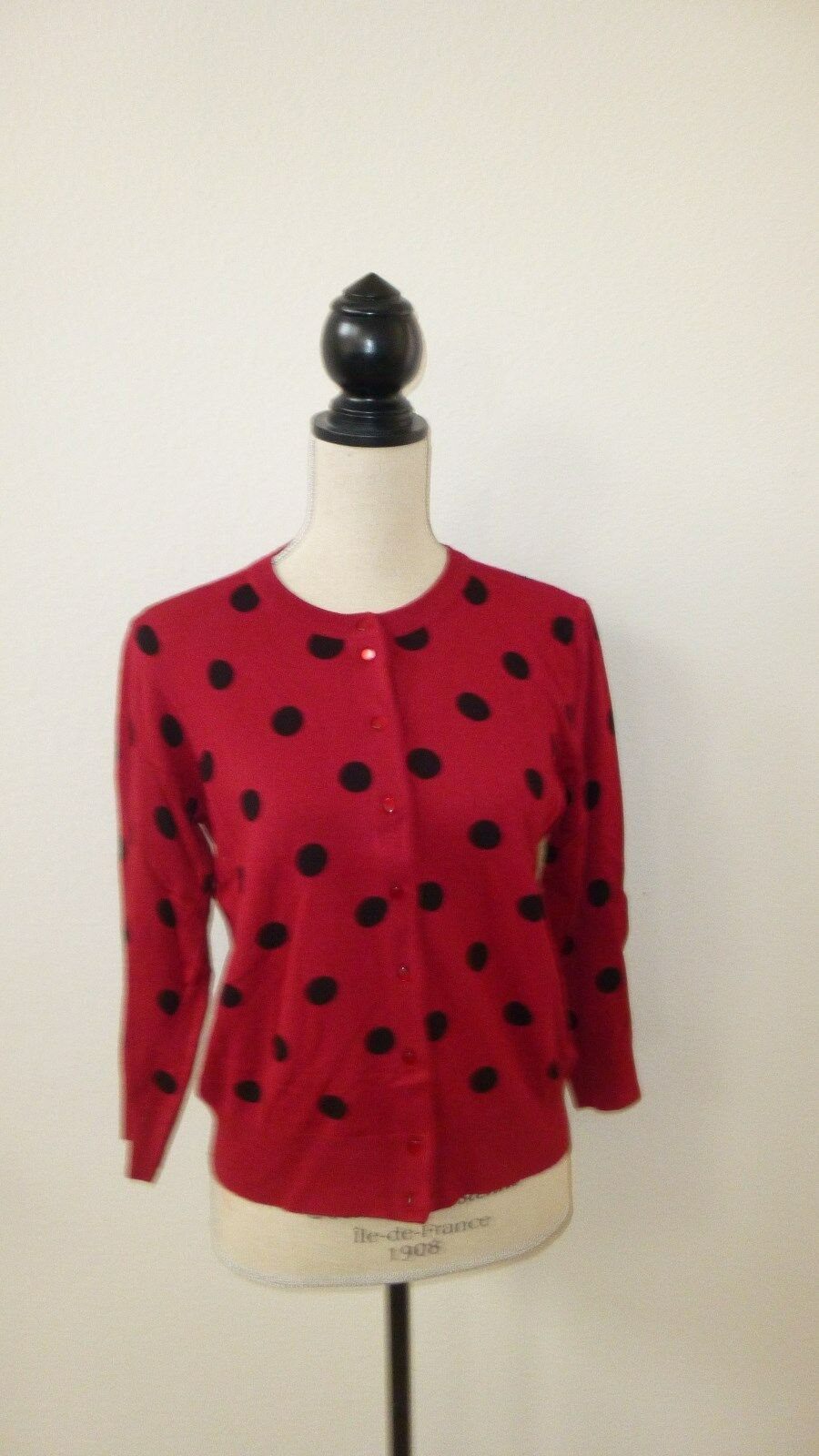 Size large red polka dot button down cardigan