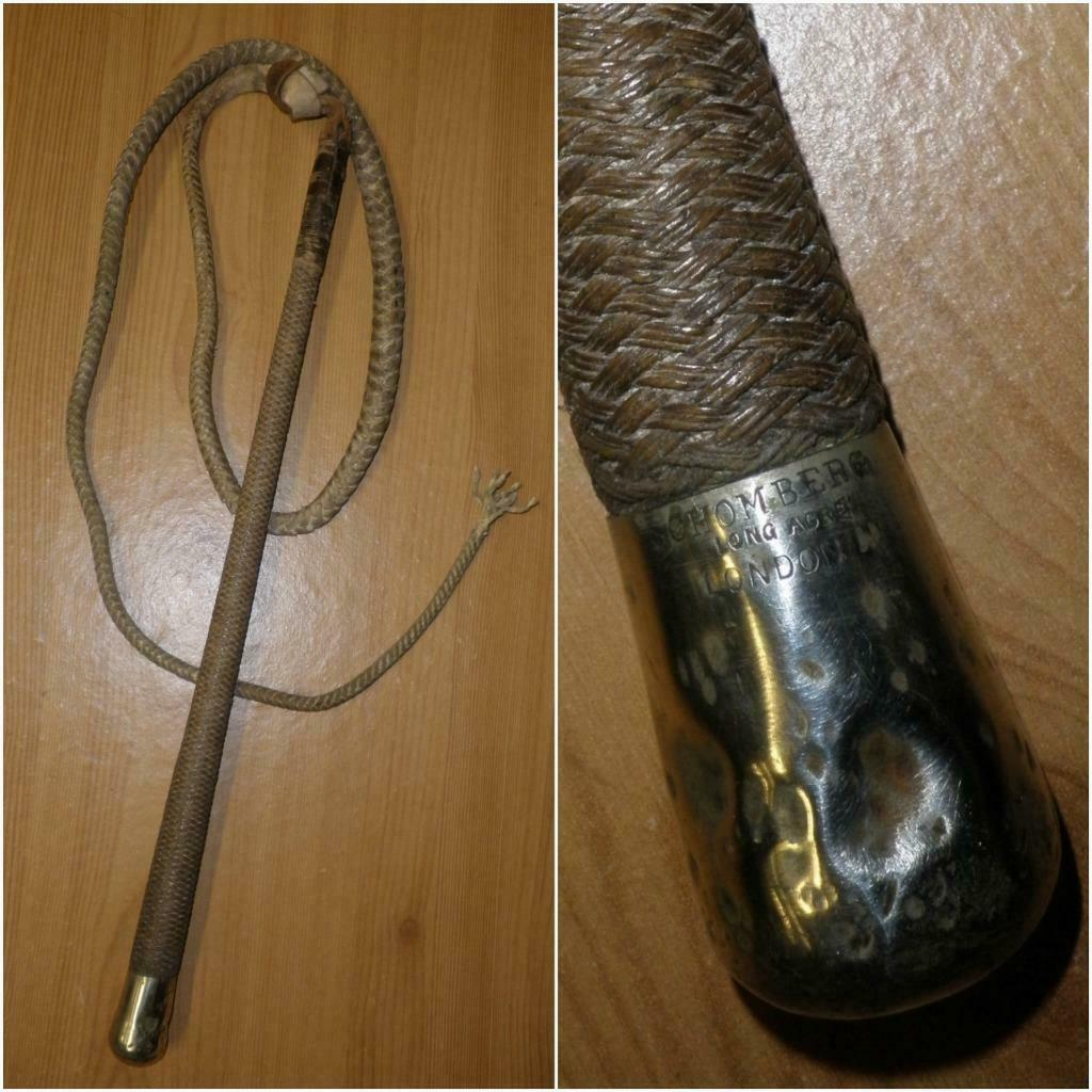 Antique Circa 1890's Military Whip with Leather Lash By Schomburg London