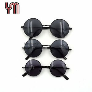 37dbc0a5da1 Black Sunglasses 60 s Dark Lens Round Frame Small Shades Sunnies ...