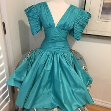 Teal Vintage Prom Dress 1980s GORGEOUS evening cocktail gown green blue