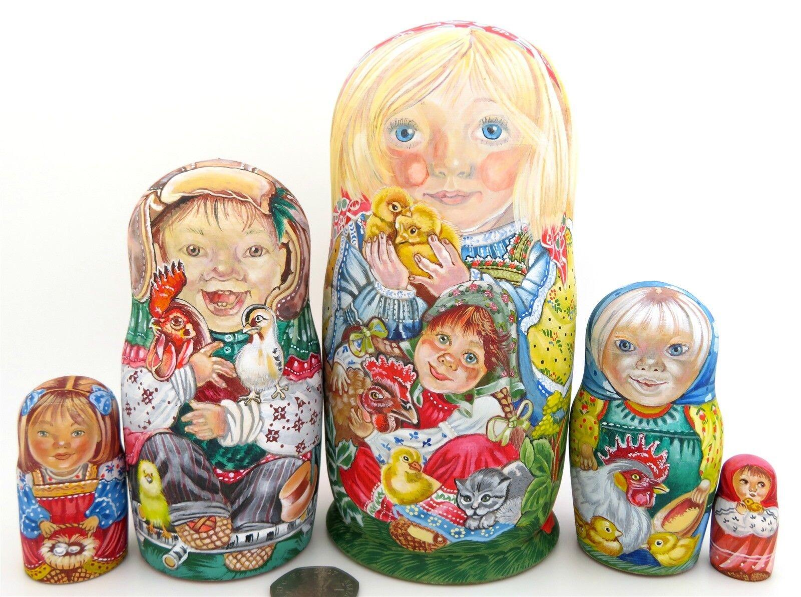 MATRIOSCA Bambini Pollo Gatto Rooster RUSSO MATT nidificazione bambole  5 obichova  supporto al dettaglio all'ingrosso