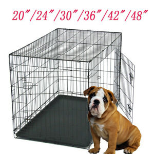 20-034-24-034-30-034-36-034-42-034-48-034-Pet-Cat-Dog-Folding-Steel-Crate-Animal-Playpen-Metal-Cage