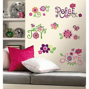 New LOVE JOY PEACE WALL DECALS 35 Big Flowers Stickers Deco Flower ...