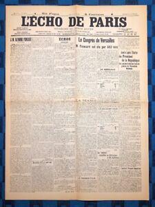 La-Une-Du-Journal-L-Echo-De-Paris-18-Janvier-1913-Election-De-Raymond-Poincare