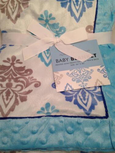 Little Beginnings ELEGANT MINK Medallion Blue Boy Baby Blanket Super Soft