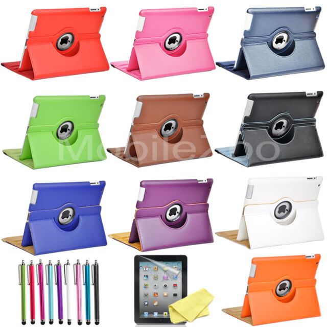 "For iPad 2 9.7"" Air 2 Pro 360 Rotating Folio PU Leather Case Smart Stand Cover"