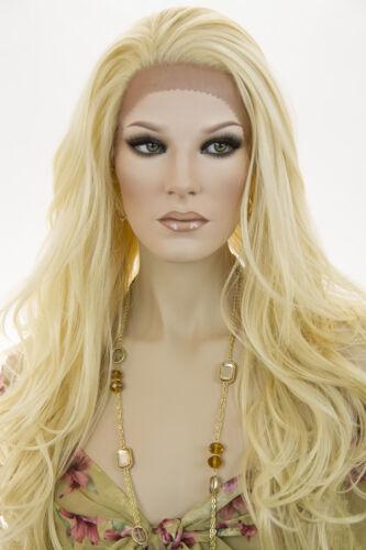 Light Pale Blonde Blonde Long Lace Front Heat Friendly Wavy Straight Wigs