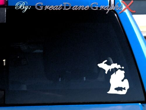 Michigan Smallmouth Bass Fishing State Vinyl Decal Sticker// Color-HIGH QUALITY