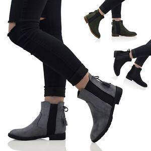 Mujer-Botines-Chelsea-refuerzo-elastico-mujer-Plano-Estilo-Motero-Botines-Talla