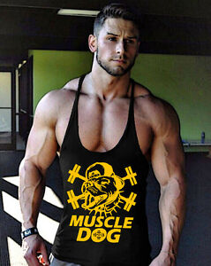 Men-039-s-Gym-Muscle-Dog-Stringer-Bodybuilding-Cotton-Fitness-Training-Tank-Top-Vest