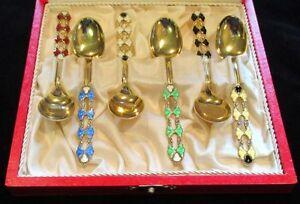 Denmark-Outstanding-Sterling-Silver-amp-Guilloche-Enamel-Set-of-Six-Spoons