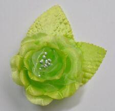 "SMALL 2.5"" Lime Green Satin Rose Silk Flower Hair Clip Wedding Bridesmaid"