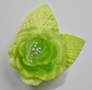 Small 25 lime green satin rose silk flower hair clip wedding image is loading small 2 5 034 lime green satin rose mightylinksfo Images