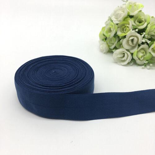"environ 4.57 m 1/""25mm Rabattable Multirôle élastique spandex Satin Bande Bleu Marine 5 Yd"