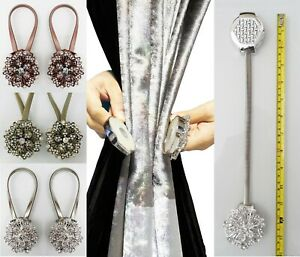 Tiebacks-Pair-Magnetic-Curtain-Crystal-Tie-Backs-Buckle-Clips-Holdbacks-diamante