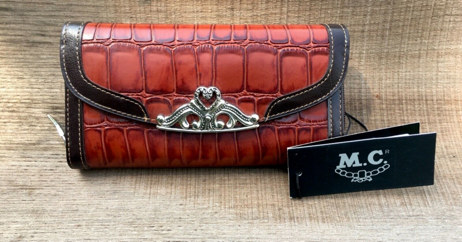 NWT M.C. Marc Chantal Western Cowgirl Croc Embossed Leather Wallet Checkbook