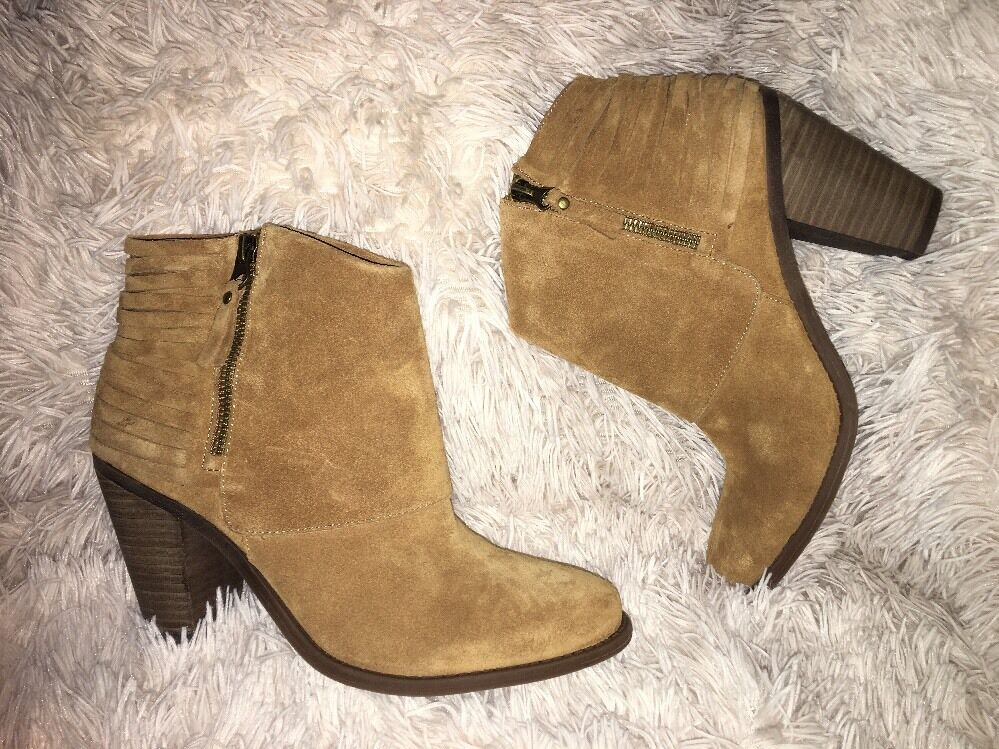 Jessica Simpson Cerrina Booties Honey Brown SPLIT SUEDE SZ 9.5 M NEW