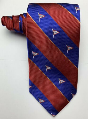 Robert Talbott Men's 100% Silk Blue/Red Striped Ru