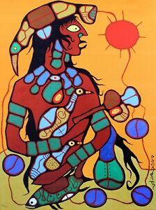 Norval-Morrisseau-Hand-Numbered-Edition-Man-To-Thunderbird-1-Mounted-Canvas-COA