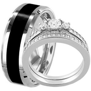 Hers-Solid-Sterling-Silver-Engagement-Wedding-Ring-Set-amp-His-Black-Titanium-Band