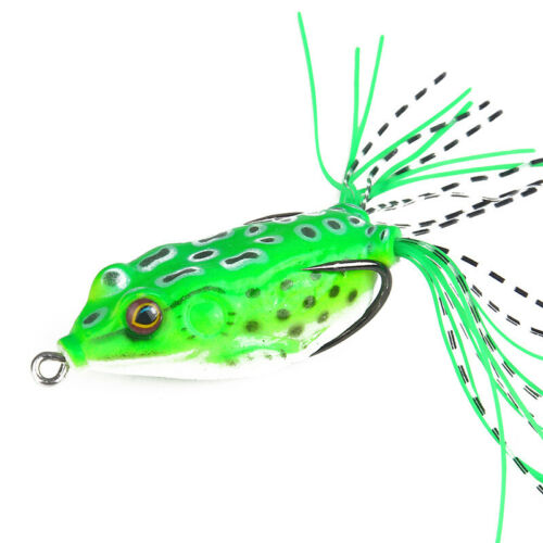 Frog Topwater Soft Fishing Lure Crankbait Hooks Bass Bait Tackle New
