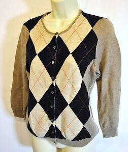 J-Crew-Argyle-Cashmere-Wool-Blend-Cardigan-Sweater-Tan-Navy-3-4-sleeve-Sz-M-EUC