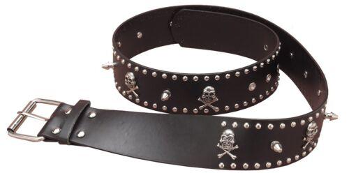 Studded Belt Punk Biker Skull Black Dress Up Halloween Adult Costume Accessory