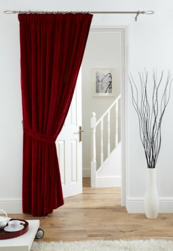 """Velvet  Lined Door Curtain 66/""""x 84/"""" drop 4 fab colours polyester fabric"""