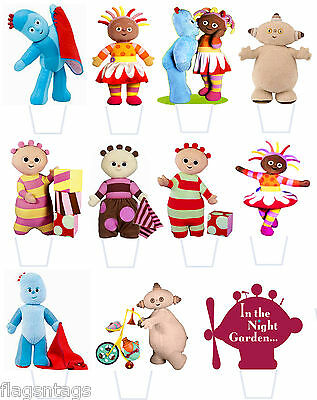 IN THE NIGHT GARDEN -25 x ASSORTED STAND UP EDIBLE WAFER  PAPER CUP CAKE TOPPERS