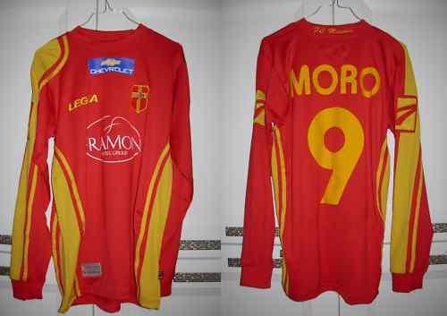 MAGLIA MESSINA NR 9 Moro MATCH WORN 07 08 LEGEA rojo