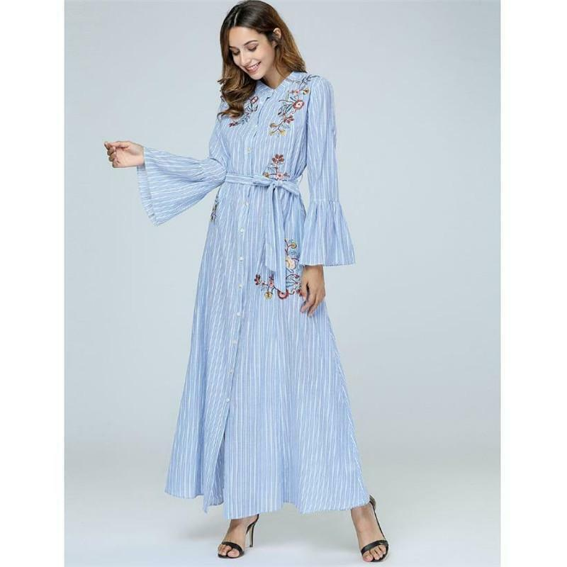 b5b27ebb443f28 Long Sleeve Swing Maxi Dress Plus Size Loose Gown Embroidery Kimono ...