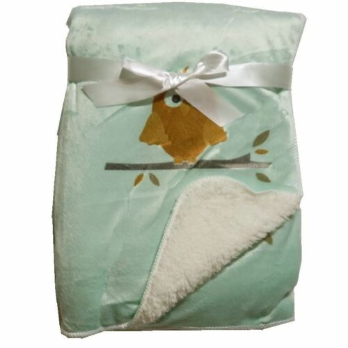 Green Plush Mink Sherpa Fleece Baby Blanket Crib Pram 75 x 100 cm