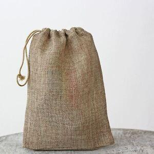 Details About 1 X Hessian Burlap Drawstring Bag 15cm 20cm