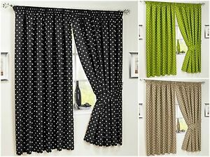 Kitchen-Pencil-Pleat-Curtains-Dot-Polka-Spotted-Dotted-Bathroom-Inc-Tiebacks-New