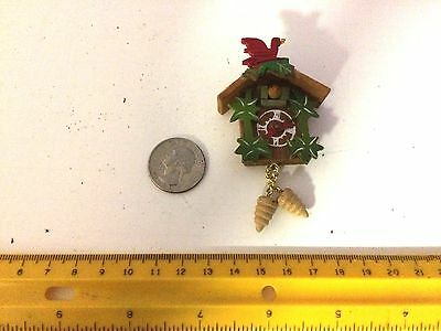 "Miniature Dollhouse Wooden Cuckoo Clock 2 3//4/"" overall"