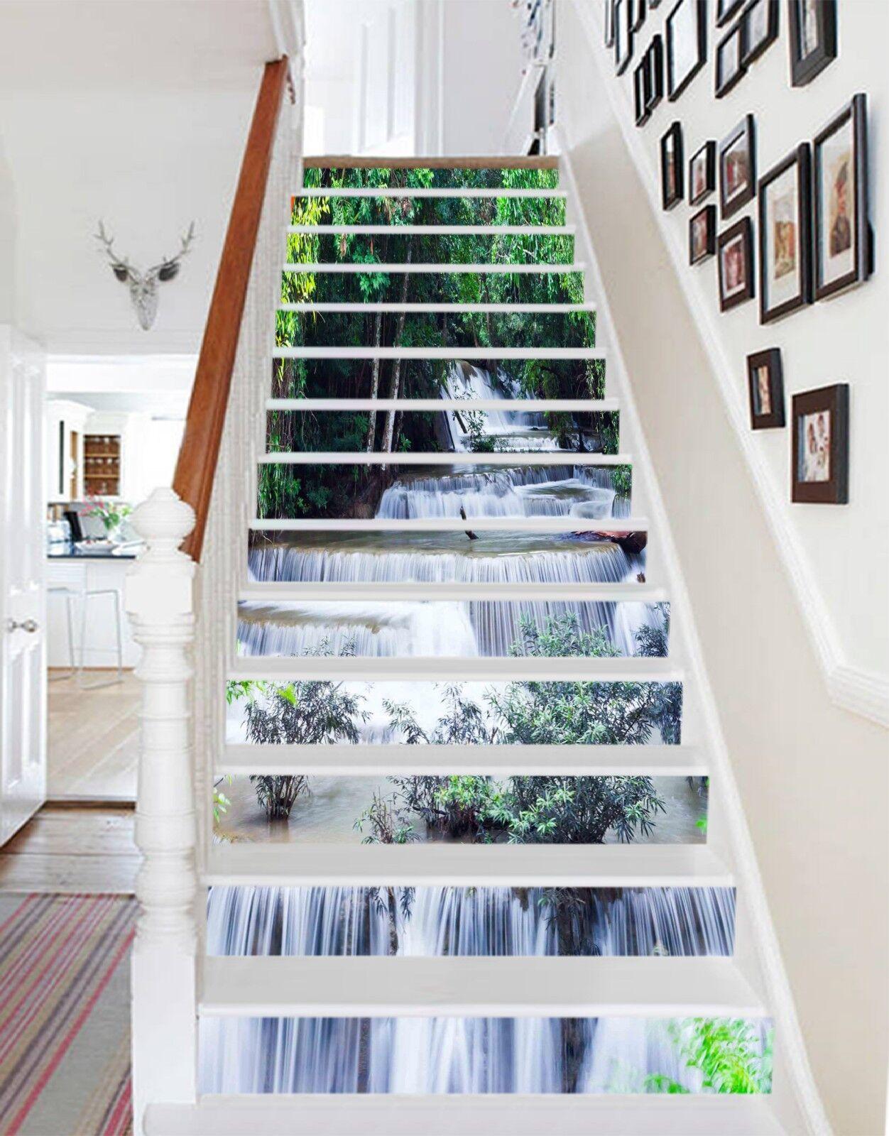 3D greener Fluss 129 Stair Risers Dekoration Fototapete Vinyl Aufkleber Tapete DE